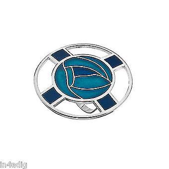 Mackintosh Roses and Lattice Enamel Scarf Ring Gift Boxed - Turquoise