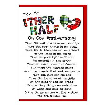 Embroidered Originals Tae Ma Ither Half Scottish Wedding Anniversary Card