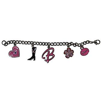 Barbie Girls Silvertone Pretty Pink Five Charm Bracelet In Branded Gift Box