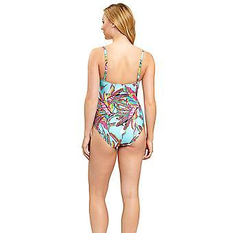 Féraud 3205051-16576 Women's Blue Ethno Feather One Piece Swimsuit