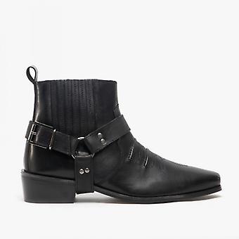 Woodland Elmacho Mens Harness Leather Cowboy Boots Black