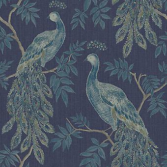 Lazzaro Peacock Vinyl Tapety Niebieski Arthouse 292101