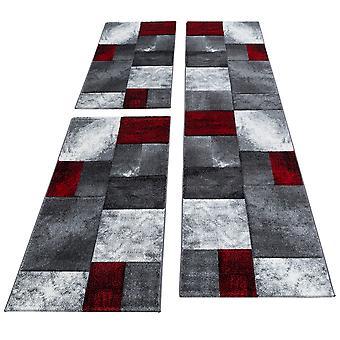 Carpet Runner Set Bed Border Korte Floral Tile Design Grijs Rood Gesmolten 3-delige