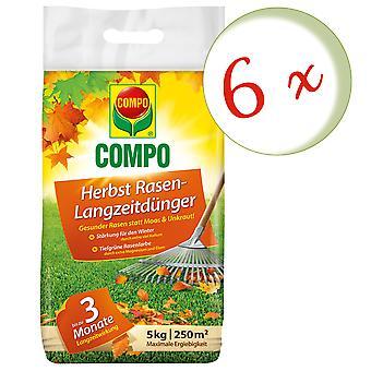 Sparset: 6 x COMPO Syksyn nurmikkolannoitetta, pitkäaikainen vaikutus, 5 kg