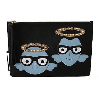 Dolce & Gabbana Black #DGFAMILY Zipper Hand Pouch Leather Bag