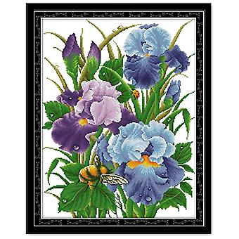 Iris Flower Cross Stitch Cloth Needlework Kit bordado - Aida Fabric Count