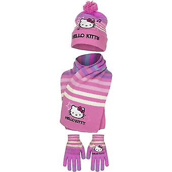 Hello kitty girls scarf hat and gloves set