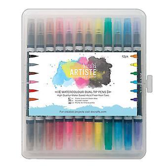 Docrafts Artiste Watercolour Plumas de doble punta (12pk) Cepillo & Marcador (DOA 851303)