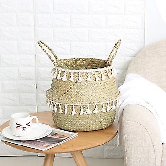 Tassel Design Handmade Bamboo Storage Baskets - Garden Flower Pot, Laundry