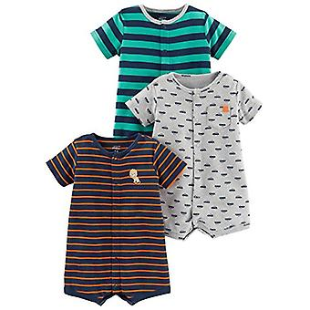 Simple Joys by Carter's Baby Boys' 3-Pack Snap-up Rompers, Green Stripe/Gray ...