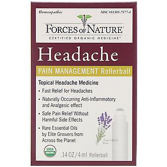 Forces of Nature, Headache, Pain Management, Rollerball, 0.14 oz (4 ml)