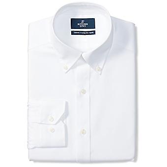 KNAPPET NED Men's Skræddersyet Fit Button-Collar Solid Ikke-Jern Kjole Shirt (Ingen ...