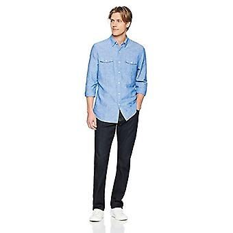 Brand - Goodthreads Men's Standard-Fit Long-Sleeve Linen and Cotton Bl...