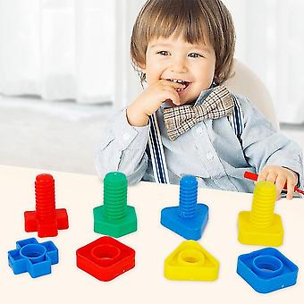 4pair Of Jumbo Nuts And Bolts Models Kit-building Blocks, Shape Matching Game
