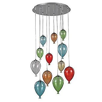 12 Light Large Balloon Cluster Pendant Multicolore, G9