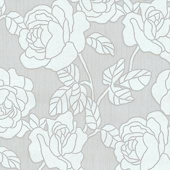 P&S International Opal Floral Pattern Grey Silver Wallpaper Flower Leaf Metallic Glitter Motif