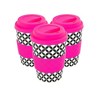 Reusable Coffee Cups - Bamboo Fibre Travel Mugs with Silicone Lid, Sleeve - 350ml (12oz) - Circles - Pink - Pack of 3