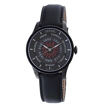 Gevril Men's 2001 Columbus Circle Black Leather Day/Date Limited Edition Watch