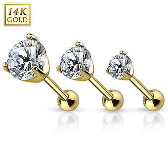 Bilanciere in cartilagine d'oro con set di prong cz top