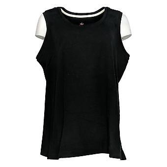 Isaac Mizrahi Live! Women's Top Plus Scoop Neck Tank Black A374863