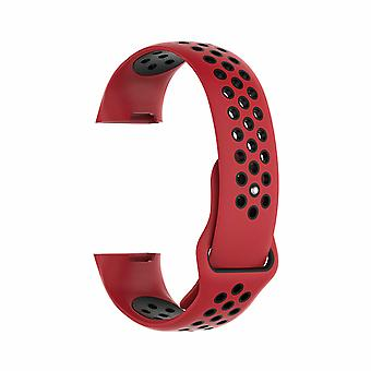 Aquarius Fitbit Charge 3 Silicone Replacement WatchStrap Band - Small, Red/Black