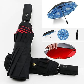 Full Automatic Oversize Reinforced Umbrella Three Folding Male Female Parasol
