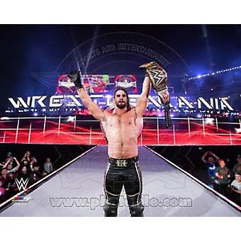 Seth Rollins with the Champiosnhip Belt Wrestlemania 31 Sports Photo (10 x 8)