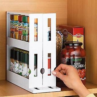Multi-Function Rotating Seasoning Rack Storage Rack Food Storage Box Seasoning Storage Box Spice Rack Holders Cabinet Rack