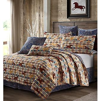 3Pcs Bedspread Novelty Wild & Free Beige Transitional King/Queen Size Quilt