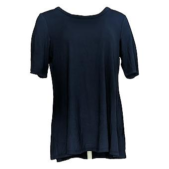 LOGO by Lori Goldstein Women's Top Knit Elbow Sleeve Swing Blue A390095