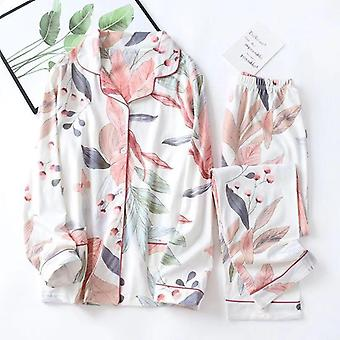 Spring Leaves Printed Women's Pajama Cotton Plus Size Two-piece Set Brief