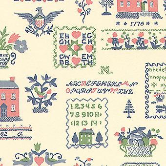Nuket House Sampler Vaaleanpunainen Vihreä Miniatyyri Tulosta Taustakuva 3 arkkia