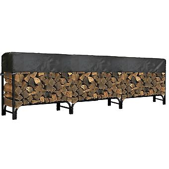 "Outdoor Firewood Log Rack Cover - 144""L x 24""W x 20""H - Short Top Cover - UV Protected, and Weather Resistant Storage Cover - Black"
