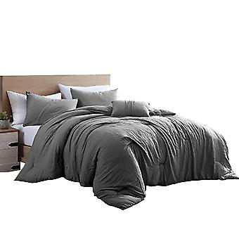 Helsinki 4 Piece Textured Microfiber King Comforter Set The Urban Port,Charcoal Gray