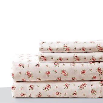 Melun 4 pièces Rose Pattern California King Sheet Set The Urban Port, Rose et Blanc