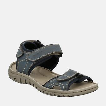 Lucia 15 hellblau - josef seibel  navy blue leather velcro walking ladies sandal