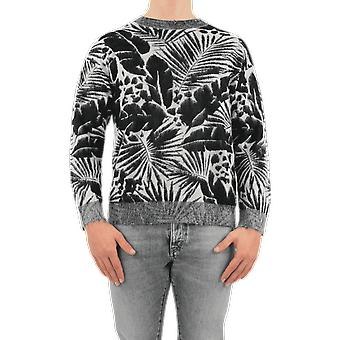 Saint Laurent Sweat Col Rond Jacquard Tropic Black 648501YAWP21095 Haut