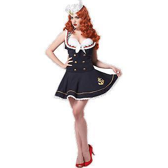 Womens Nautical Doll Sailor Uniform Fancy Dress Costume