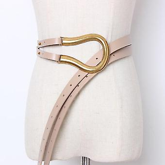 Soft Faux Leather Belts, Personality Big Alloy Buckle & Thin Double Layer