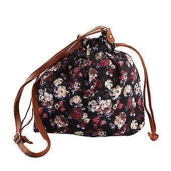 Floral Print Crossbody Bag 30x10x21cm - svart