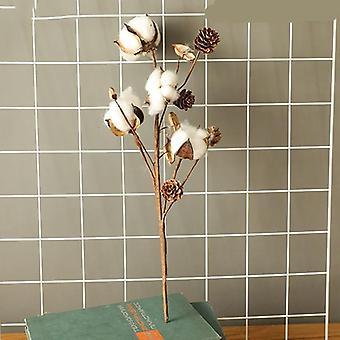 Naturlig tørket bomull blomster kunstige planter