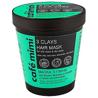 Cafe Mimi Hair Mask 3 Clays for Oily Roots and Dry Tips 220 ml