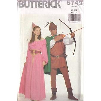 Butterick نمط الخياطة 5749 ملكة جمال رجال روبن هود الأزياء حجم L-XL