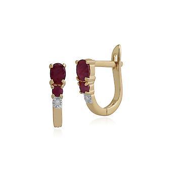Gemondo 9ct geel gouden 0.61ct Ruby & Diamond Hoop Earrings Hoop Earrings