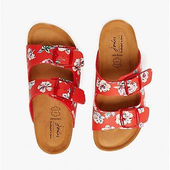 Joules Penley señoras dos sandalias de tiras rojo floral