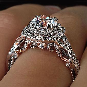 Hutan Eternity Engagement Ring With Clear Cubic Zirconia Prong