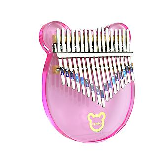 Kalimba Thumb Piano 17 Keys Lovely Bear Acrylic Musical Instrument For Kids Pink