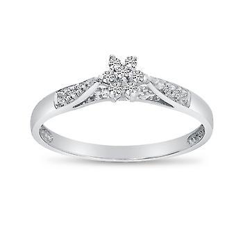LXR 14K الذهب الأبيض خاتم الكتلة الماس