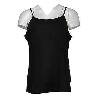 Lisa Rinna Collection Women's Top Twist Front com Camisole Black A278424
