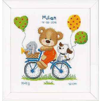 Vervaco Counted Cross Stitch Kit: Geboorterecord: Cycling Bear